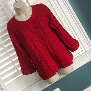 Coldwater Creek XS Red Cable Knit Sweater